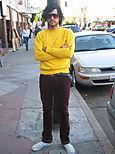 yellow sweat shirt.